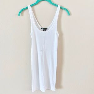 Vince White Ribbed Tank Top S